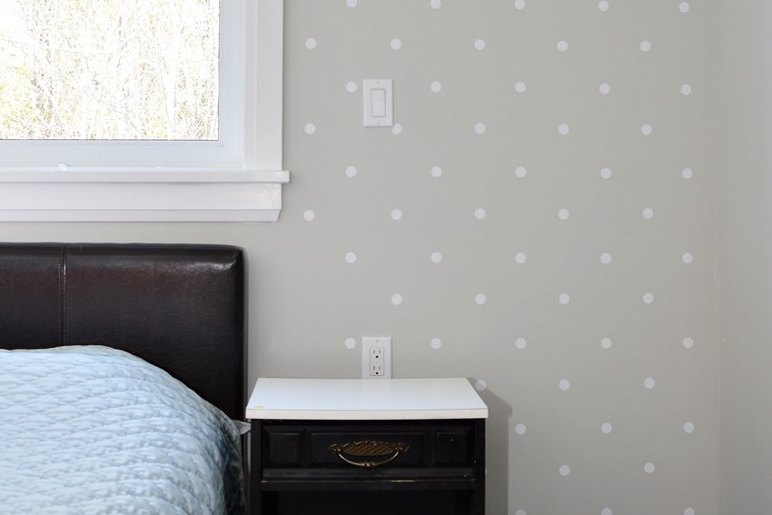 polka dot master bedroom accent wall