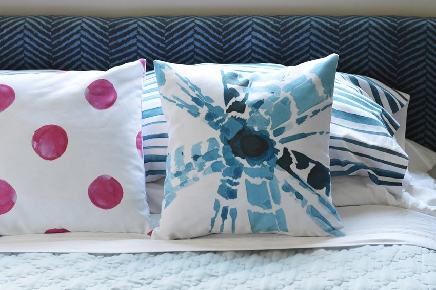 master bedroom linens blue and pink shibori watercolor