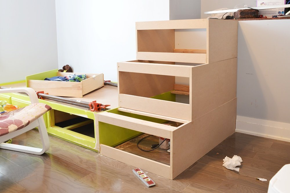 built in storage drawers and loft bed shared boys bedroom